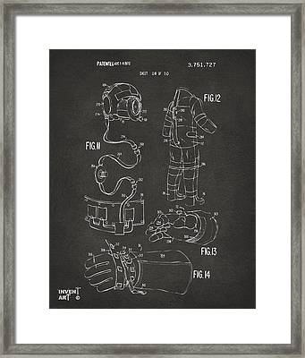 1973 Space Suit Elements Patent Artwork - Gray Framed Print