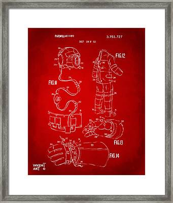 1973 Space Suit Elements Patent Artwork - Red Framed Print