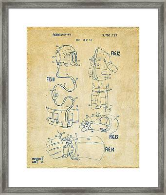 1973 Space Suit Elements Patent Artwork - Vintage Framed Print by Nikki Marie Smith