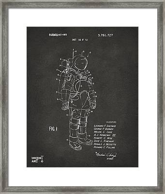 Framed Print featuring the digital art 1973 Space Suit Patent Inventors Artwork - Gray by Nikki Marie Smith