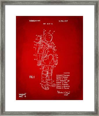 1973 Space Suit Patent Inventors Artwork - Red Framed Print by Nikki Marie Smith