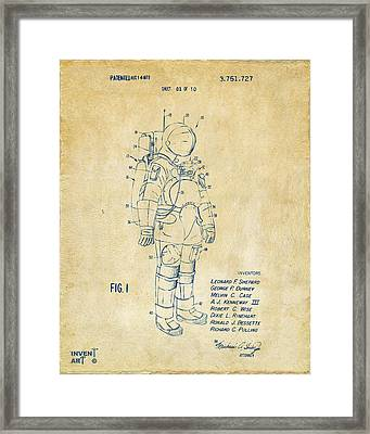 1973 Space Suit Patent Inventors Artwork - Vintage Framed Print by Nikki Marie Smith