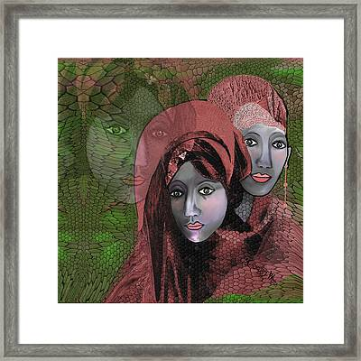 Framed Print featuring the digital art 1974 - Women In Rosecoloured Clothes - 2017 by Irmgard Schoendorf Welch