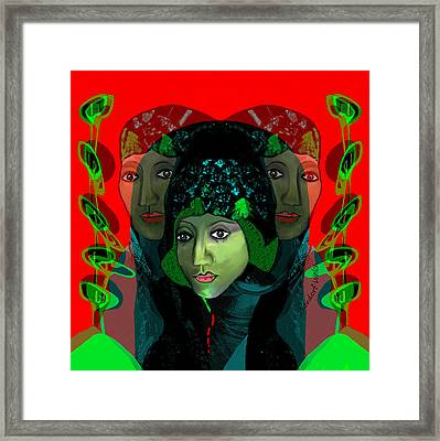 Framed Print featuring the digital art 1975 - Mystery Woman by Irmgard Schoendorf Welch