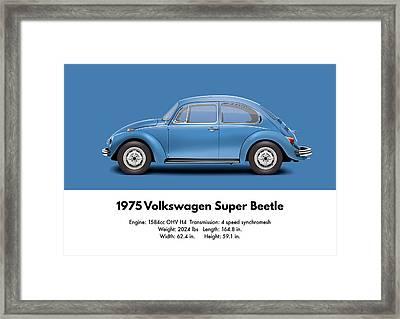 1975 Volkswagen Super Beetle - Ancona Blue Metallic Framed Print