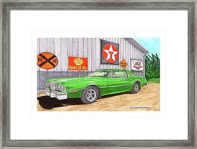 Framed Print featuring the painting 1976 Ford Thunderbird by Jack Pumphrey