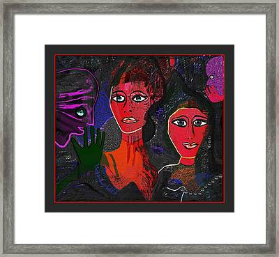 Framed Print featuring the digital art 1977 - Faces Red by Irmgard Schoendorf Welch
