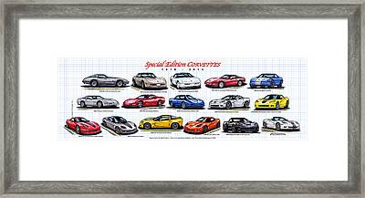 1978 - 2011 Special Edition Corvettes Framed Print