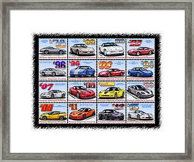 1978 - 2013 Special Edition Corvette Postage Stamps Framed Print by K Scott Teeters