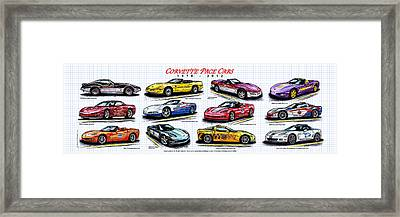 Framed Print featuring the drawing 1978 - 2012 Indy 500 Pace Car Corvettes by K Scott Teeters