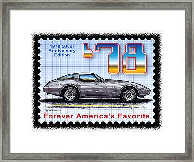1978 Silver Anniversary Edition Corvette Framed Print by K Scott Teeters
