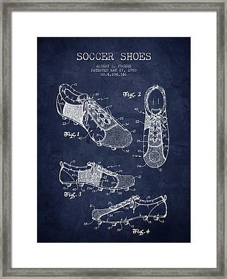 1980 Soccer Shoe Patent - Navy Blue - Nb Framed Print by Aged Pixel