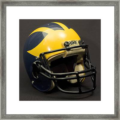 Framed Print featuring the photograph 1980s Wolverine Helmet by Michigan Helmet