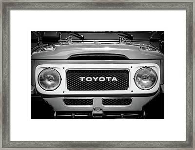 1982 Toyota Fj43 Land Cruiser Grille Emblem -0522bw Framed Print by Jill Reger