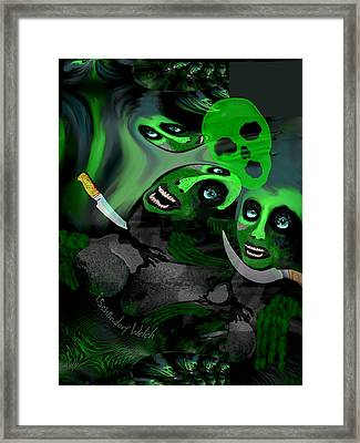 Framed Print featuring the digital art  1982 Violence And Fear 2017 by Irmgard Schoendorf Welch