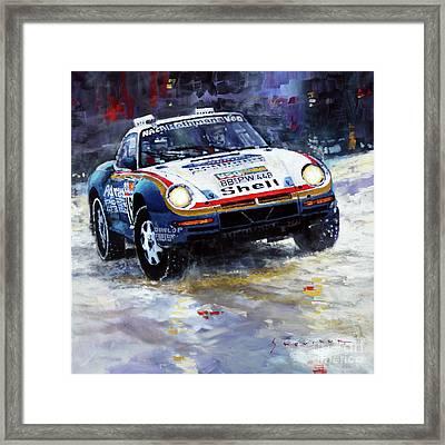 1986 Porsche 959/50 #185 2nd Dakar Rally Raid Ickx, Brasseur Framed Print