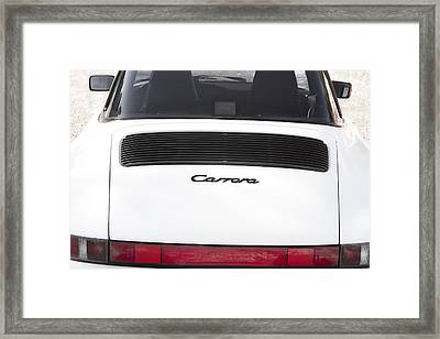 1987 White Porsche 911 Carrera Back Framed Print by James BO  Insogna