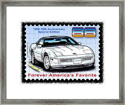 1988 35th Anniversary Special Edtion Corvette Framed Print