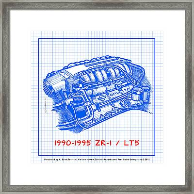 1990-1995 C4 Zr-1 Lt5 Corvette Engine Blueprint Framed Print