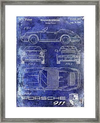 1990 Porsche 911 Patent Blue Framed Print