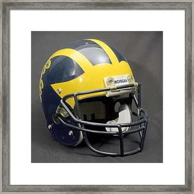 Framed Print featuring the photograph 1990s Wolverine Helmet by Michigan Helmet