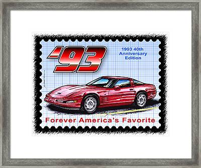 1993 40th Anniversary Edition Corvette Framed Print