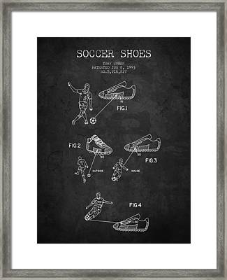 1993 Soccer Shoes Patent - Charcoal - Nb Framed Print by Aged Pixel