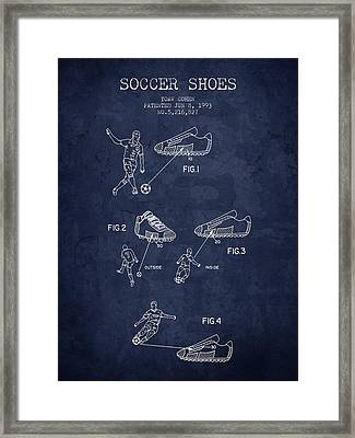 1993 Soccer Shoes Patent - Navy Blue - Nb Framed Print by Aged Pixel