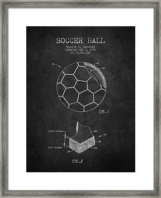 1996 Soccer Ball Patent Drawing - Charcoal - Nb Framed Print by Aged Pixel