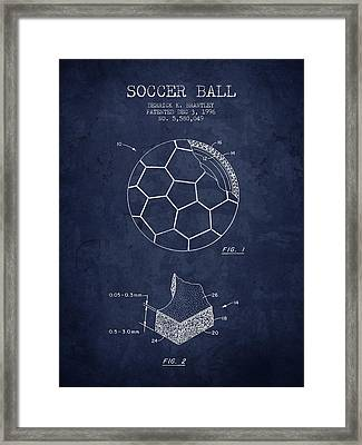 1996 Soccer Ball Patent Drawing - Navy Blue - Nb Framed Print by Aged Pixel