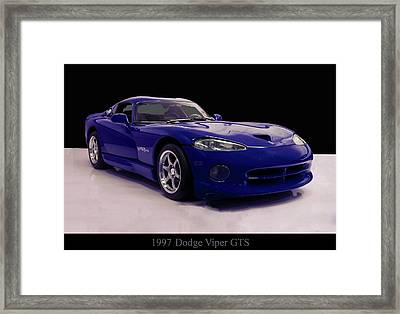 Framed Print featuring the digital art 1997 Dodge Viper Gts Blue by Chris Flees