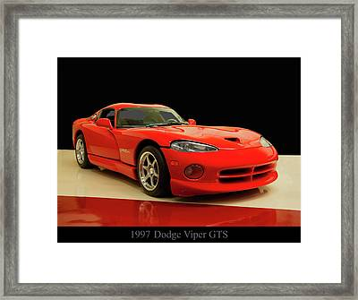 Framed Print featuring the digital art 1997 Dodge Viper Gts Red by Chris Flees