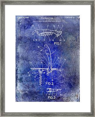 1998 Corkscrew Patent 2 Blue Framed Print by Jon Neidert