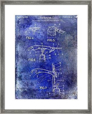 1998 Corkscrew Patent Blue Framed Print