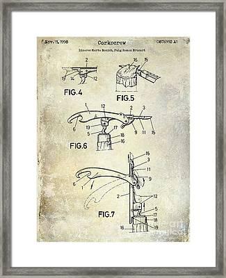 1998 Corkscrew Patent Framed Print