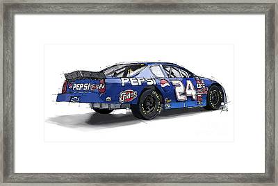 1999 Chevrolet Monte Carlo Nascar Handmade Drawing Framed Print by Pablo Franchi