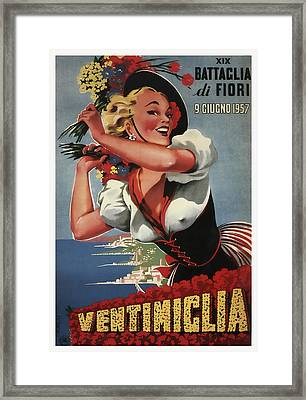 19th Annual Battle For Flowers In Ventimiglia Italy 1957 Framed Print