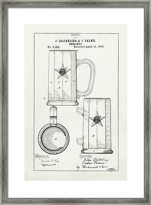 19th Century Beer Mug - 1876 Patent Drawing Framed Print