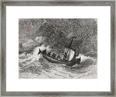 19th Century Fishing Boat In Stormy Framed Print by Vintage Design Pics