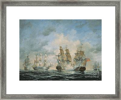 19th Century Naval Engagement In Home Waters Framed Print by Richard Willis