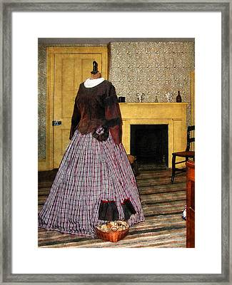 19th Century Plaid Dress Framed Print by Susan Savad