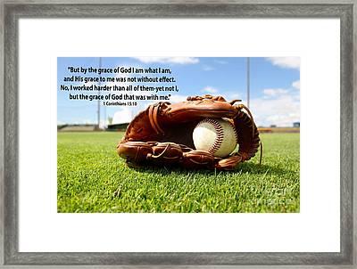 1st Corinthians15 Verse 10 With Baseball Theme Framed Print by Barbara Dalton