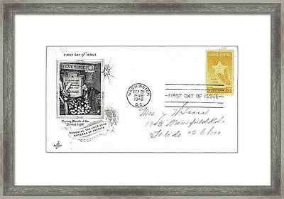 1st Day Cover Gold Star Mothers Number 1 1948 Color Added 2016 Framed Print by David Lee Guss