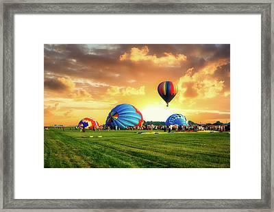 1st To Launch Hot Air Balloon Framed Print