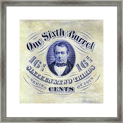 1878 One Sixth Beer Barrel Tax Stamp Framed Print