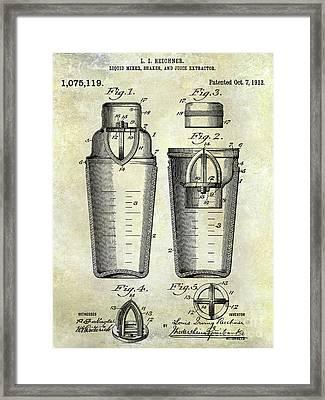 1913 Cocktail Shaker Patent Framed Print
