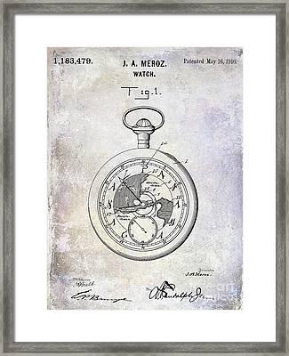 1916 Pocket Watch Patent Blueprint Framed Print
