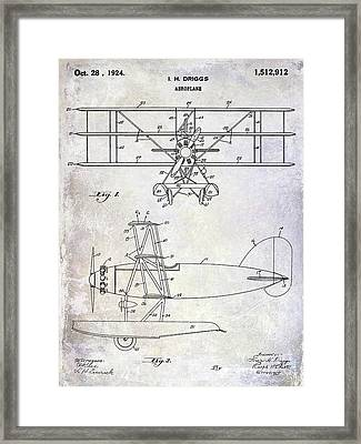 1924 Airplane Patent Framed Print by Jon Neidert
