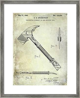 1940 Fireman Ax Patent Framed Print