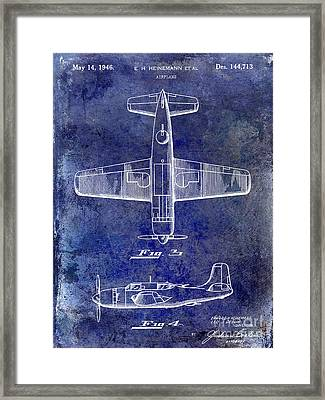 1946 Airplane Patent Blue Framed Print